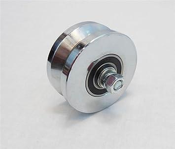 Rueda para puerta corredera con eje de 10,16 cm con ranura en V – Maquinada y zinc chapado – Capacidad de 453 kg: Amazon.es: Bricolaje y herramientas