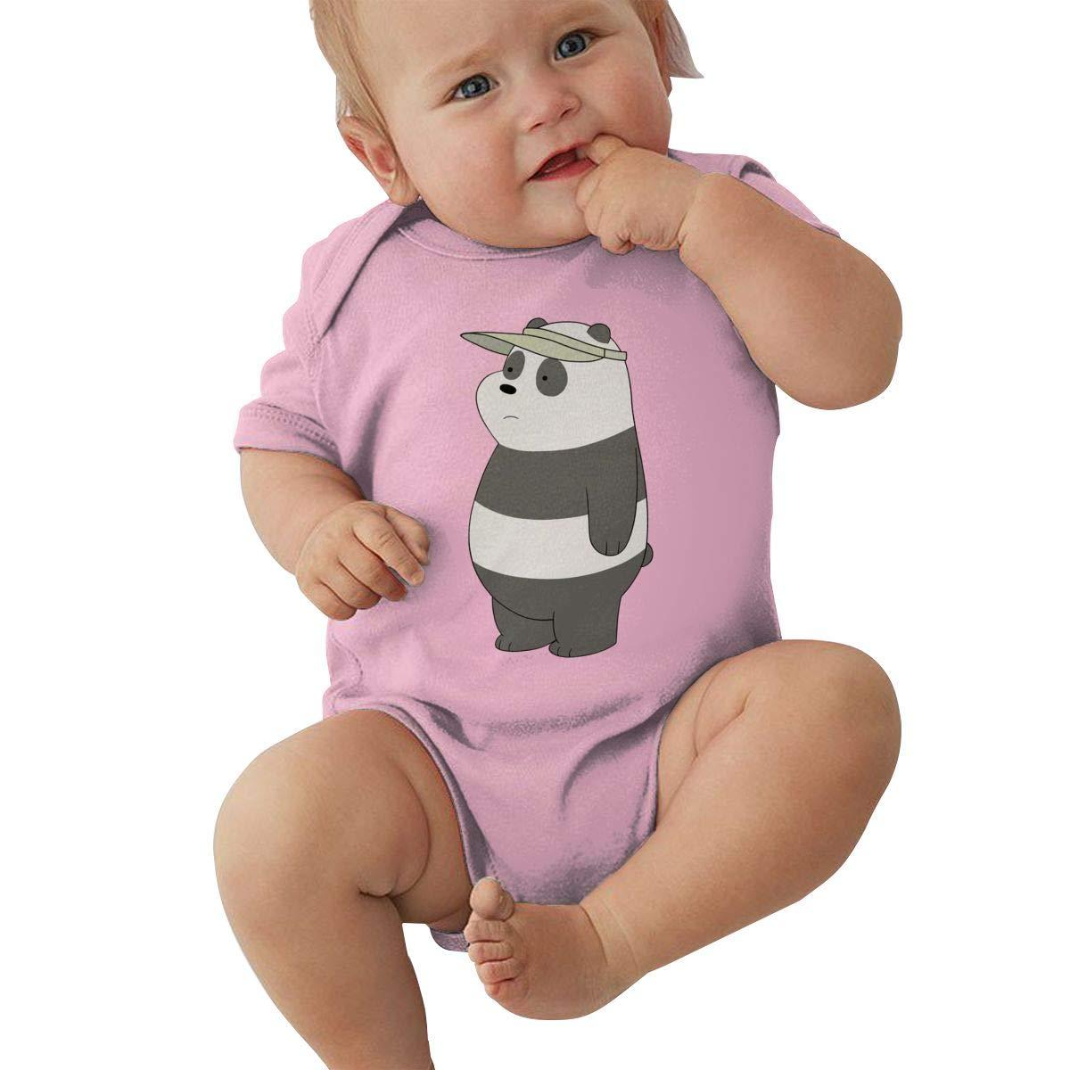 PORRO Baby Boys Girls Crew Neck Short Sleeve Jersey Bodysuit We Bare Bears Funny Crawling Suit Black