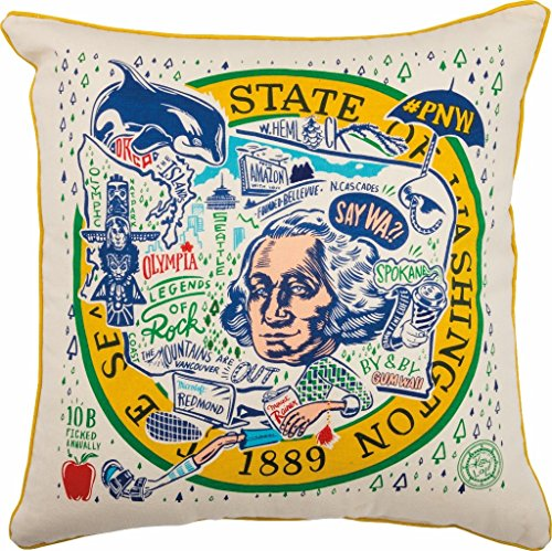 Primitives by Kathy Home State Washington Decorative Throw Pillow, 20-Inch Square State Throw Pillow