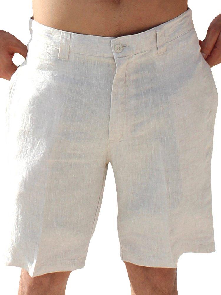 Mens Linen Golf Shorts Summer Casual Bermuda Board Classic Fit Short Work Pants