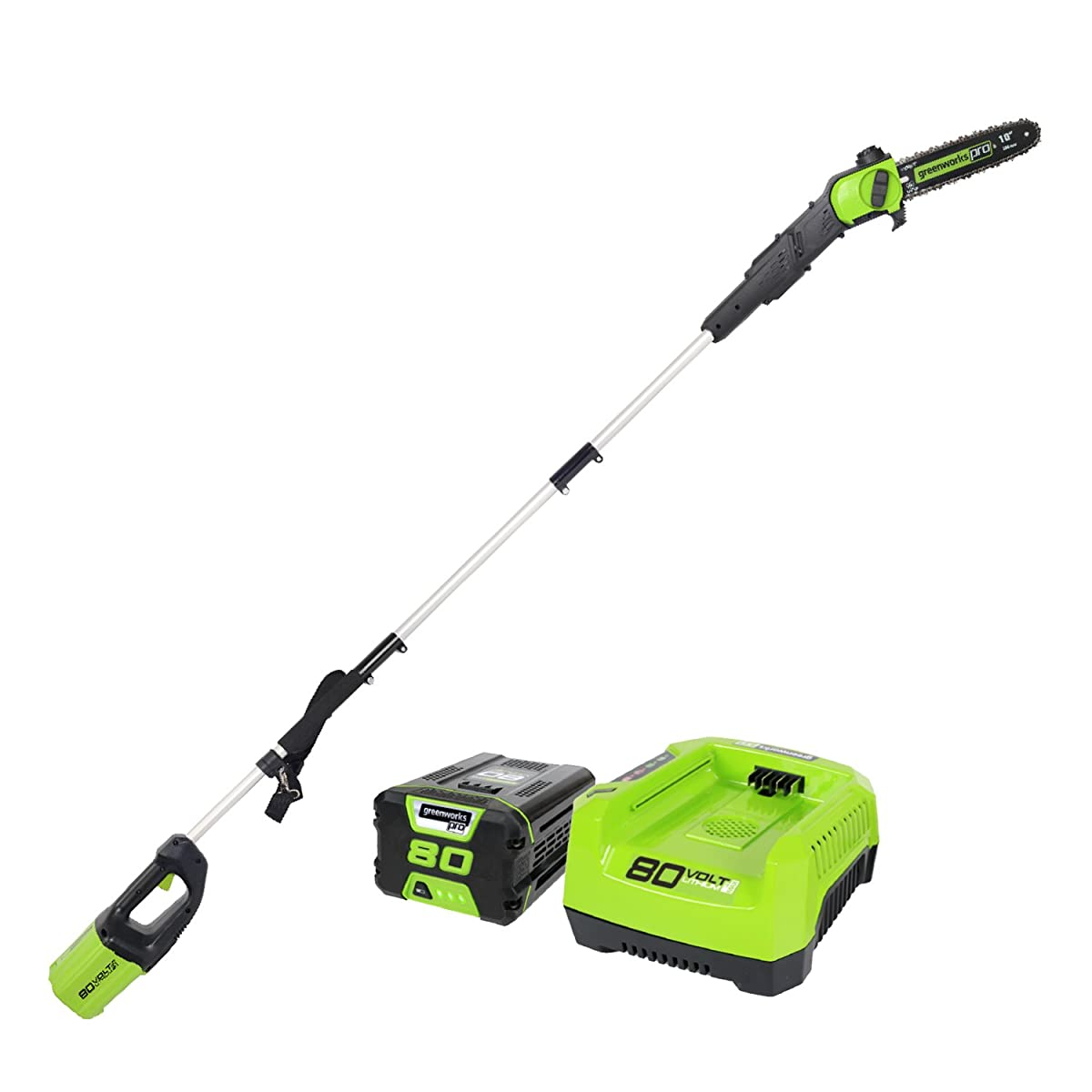 Greenworks PRO 9 80V Cordless Pole Saw, 2.0 AH Battery Included PS80L21