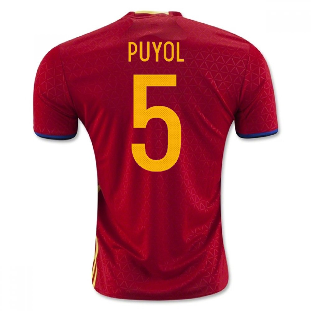 2016-2017 Spain Home Football Soccer T-Shirt Trikot (Carlos Puyol 5)