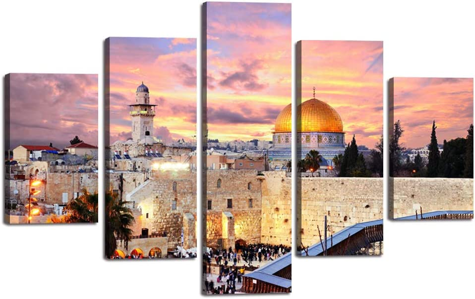 Extra Large Islamic Religion Canvas Painting Jerusalem Wall Art Mecca Modern Muslim Split Artwork 5 Panel Prints Giclee for Living Room Home Decor Wooden Framed Stretched Ready to Hang(60''Wx40''H)