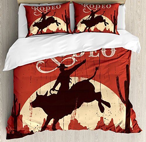 Cowboy Twin Quilt (Vintage Duvet Cover Set Twin Size by Ambesonne, Rodeo Cowboy Riding Bull Wooden Old Sign Western Wilderness at Sunset Image, Decorative 2 Piece Bedding Set with 1 Pillow Sham, Redwood Orange)