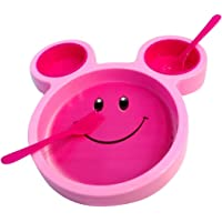 Skky Bell Kids Children Smiley Face Plates Mickey Shape Dish Mac Doodle Plate(Color May Vary)