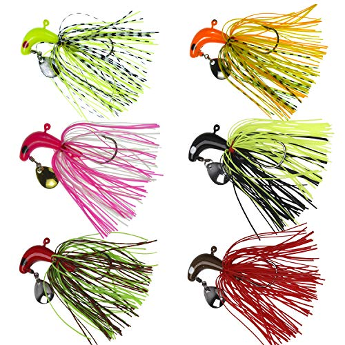 (AGOOL Fishing Spinner Baits Lure Kit - Hard Metal Spinner Lures Multicolor Jig Lures Buzzbait Swimbaits for Pike Bass Trout Salmon Freshwater Saltwater Fishing 6pcs/12pcs (Set-3, 6 pcs))