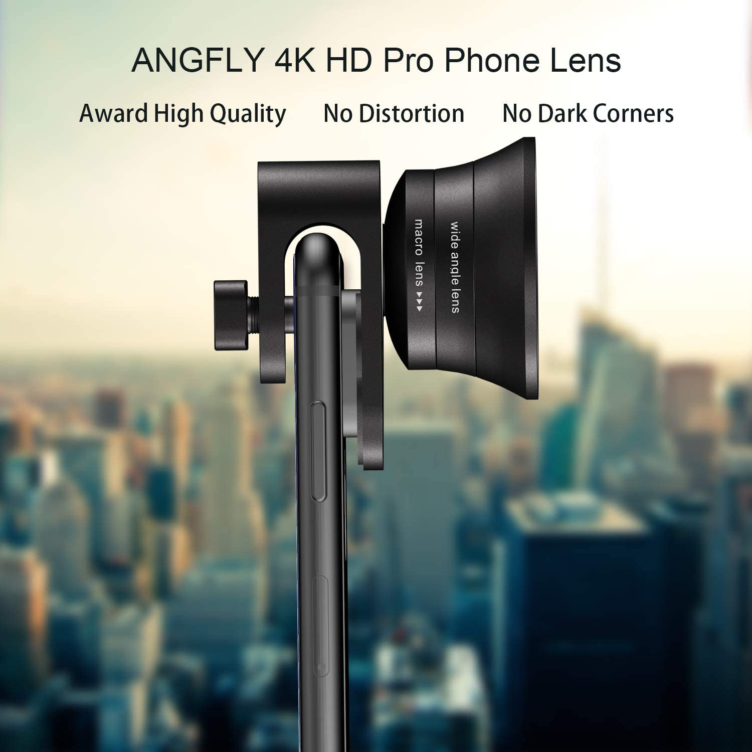 ANGFLY 4K HD 2 in 1 Aspherical Wide Angle Lens /& Super Macro Lens,Clip-On Cell Phone Camera Lenses Compatible with iPhone,Android,Samsung Mobile Phones and Tablets Phone Camera Lens Pro