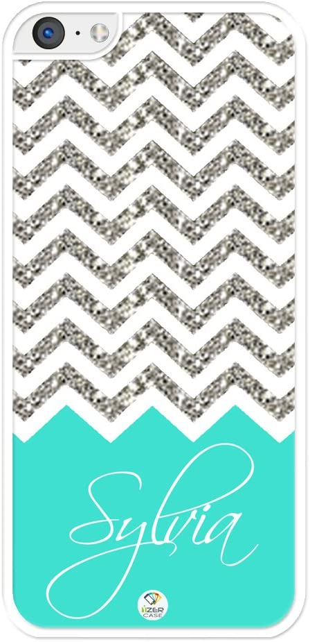 iZERCASE Chevron Pattern Turquoise Grey White Mixed New Rubber iPhone 4, iPhone 4S case (NOT Actual Glitter) - Fits iPhone 4/4S T-Mobile, AT&T, Sprint, Verizon and International