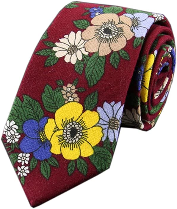 15010b32fbe9 Men Burgundy Red Ties Maroon Floral Printed Autumn Winter Neckties in Skinny  Cut