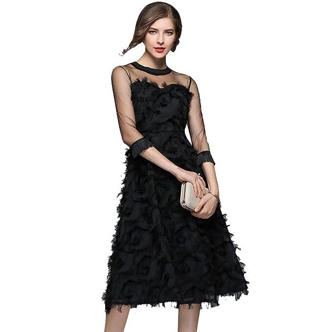 a4b57f9e8 YiLianDaD Mujeres Vestidos de Encaje Elegante Vestido Fiesta Bodas ...