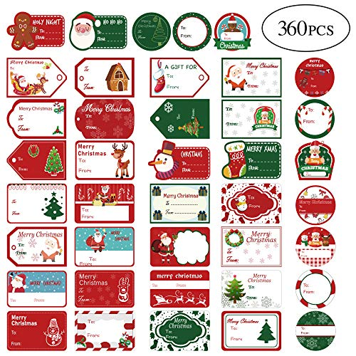 jocacti 360 Pcs Christmas Gift Tags Stickers, Self Adhesive Name Tags, 12 Different Designs, Xmas Tree Snowmen Deer Christmas Festival Holiday Presents Decorative for Gift