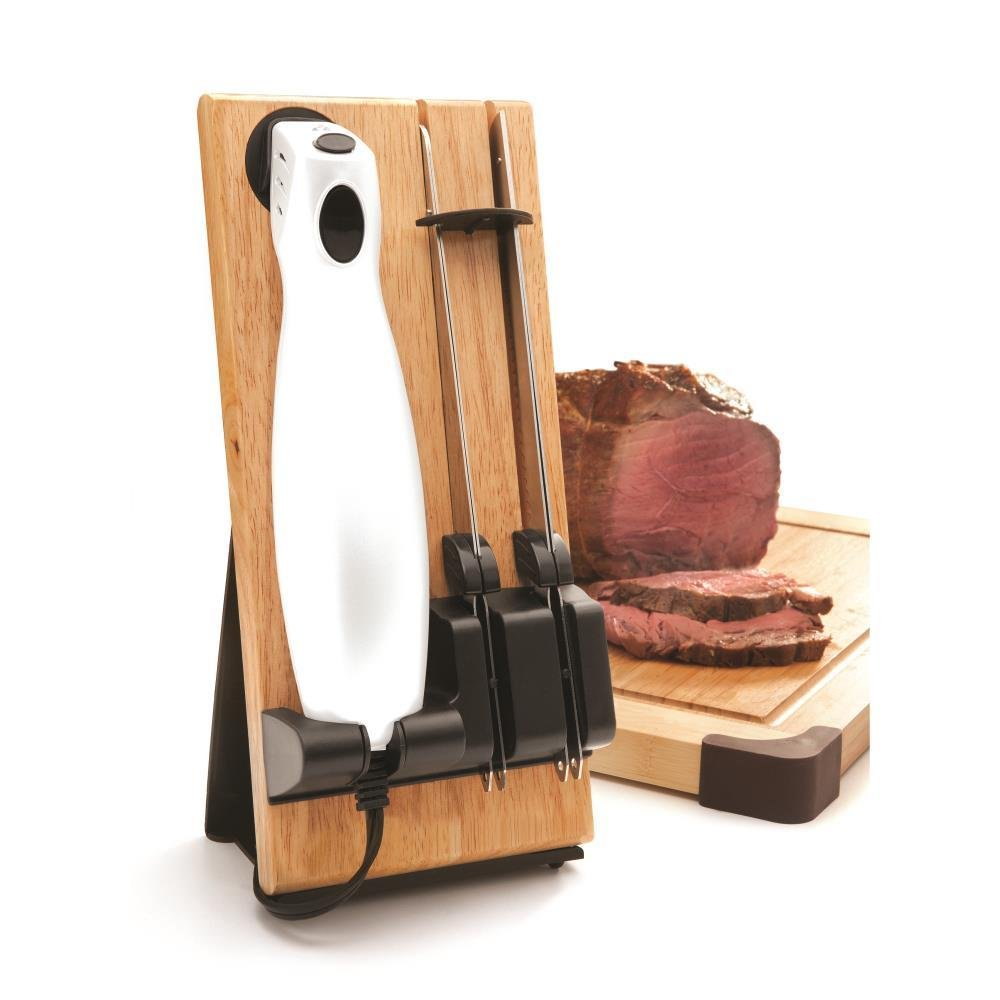 Draizee Electric Kitchen Knife with Wooden Storage Tray   Durable and Comfortable Handling   Steel Blades for Meat Carving and Bread Slicing