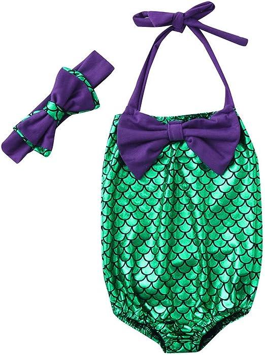 Filles Une pi/èces Maillots de Bain PANPANY Enfant Volants /Écaille de Poisson Impression Jumpsuit Swimwear B/éb/é Sling UV Protection Bowknot Corps Barboteuse Ensembles pour 1-5Ans