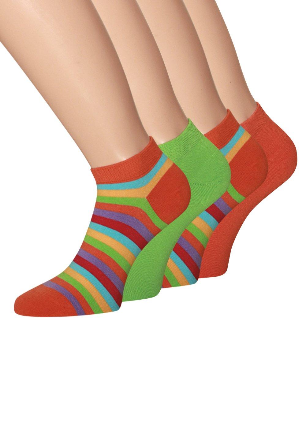 4 Paar Sneakersocken Damen Neon Farben laufsocken Damen mit Komfortbund ohne Naht