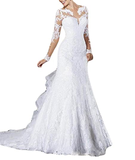 Mr.ace Homme Vintage vestidos de novia Long Sheer Sleeves Lace Bridal Gowns For Women