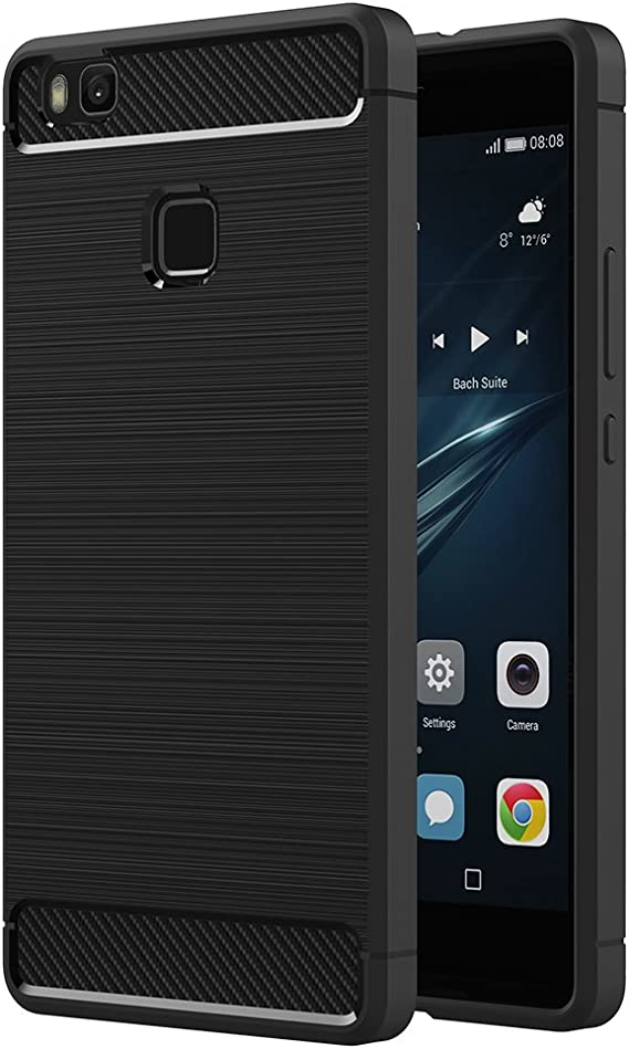 AICEK Cover Huawei P9 Lite, Nero Custodia P9 Lite Silicone Molle Black Cover per Huawei P9 Lite Soft TPU Case