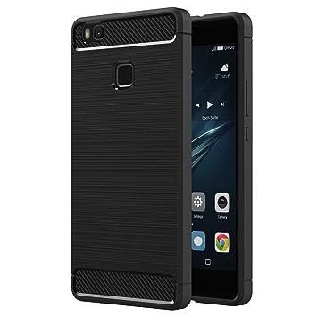 AICEK Funda Huawei P9 Lite, Huawei P9 Lite Funda Negro Gel de Silicona P9 Lite Carcasa Fibra de Carbono Funda para P9 Lite 5,2 Pulgadas