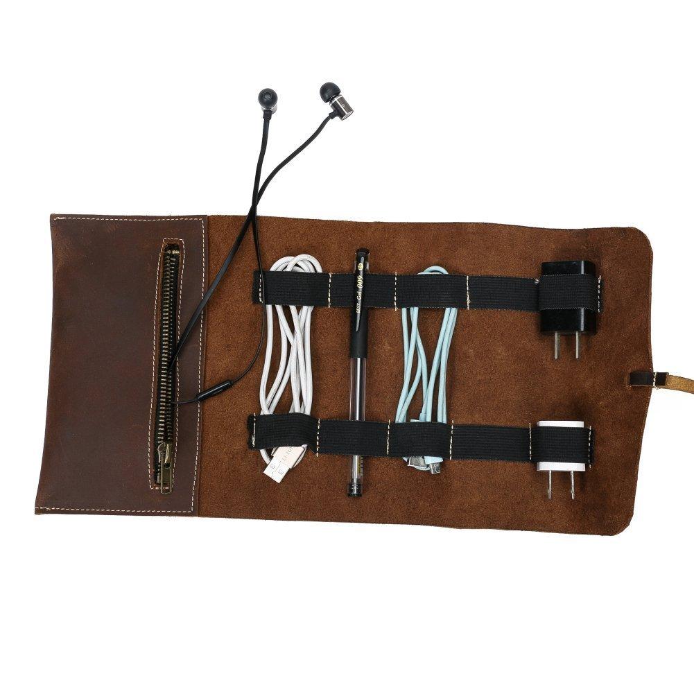 Qees Electronic Cordon Organiseur Rouleau Sac é tui en cuir Wrap support câ ble Sac support pour rouleaux de papier pour chargeurs, é couteurs, clé s, cartes mé moire, stylos et autres petits accessoires de voyage Gjb65 cl