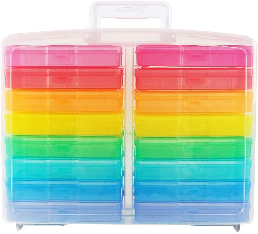 Cool-Colored + Clear 16 Inner Photo Keeper Novelinks Photo Case 4 x 6 Photo Storage Box
