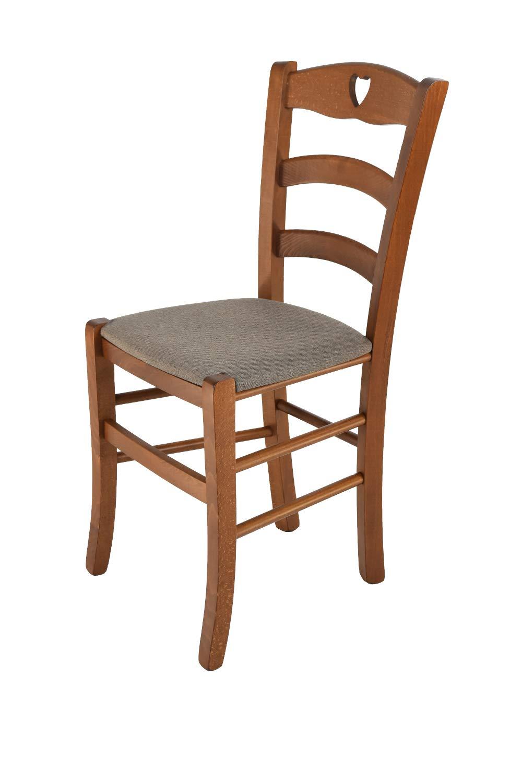 Tommychairs sedie di design - sedia CUORE per cucina e sala da pranzo dallo stile classico con robusta struttura in legno di faggio verniciata color noce e seduta imbottita e rivestita in ECOPELLE color avorio STOCKLINE