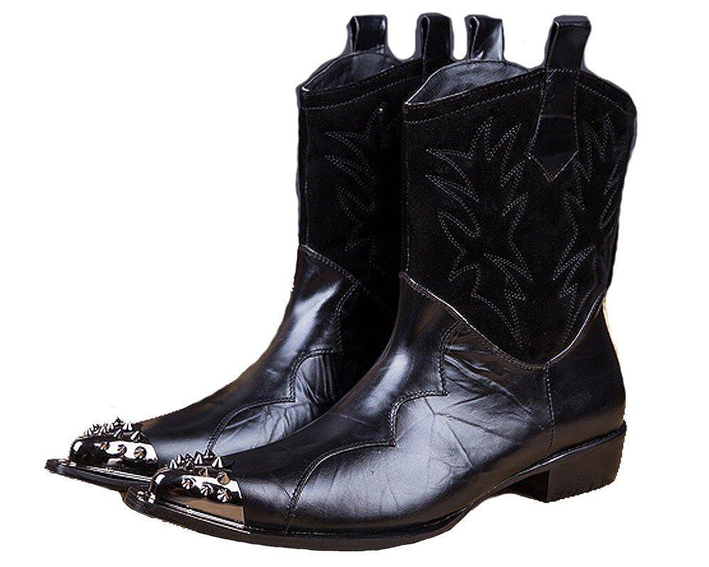 USサイズ5 – 12新しいブラックレザースチールPointed Toe Slip Onカウボーイブーツメンズ靴 11 D(M) US  B01M8O349Z