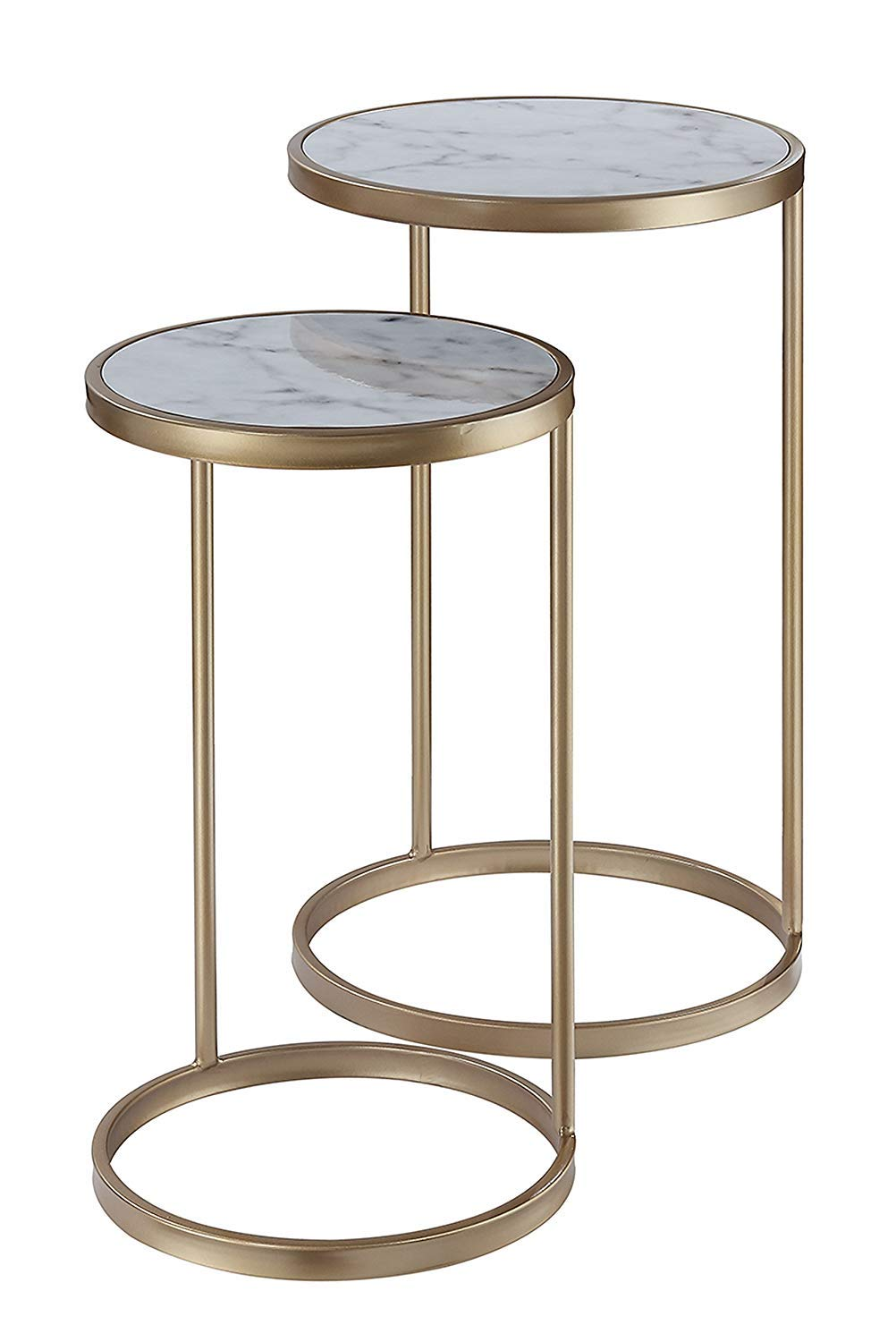 Convenience Concepts Coast Nesting End Tables, Faux Marble/Gold by Convenience Concepts