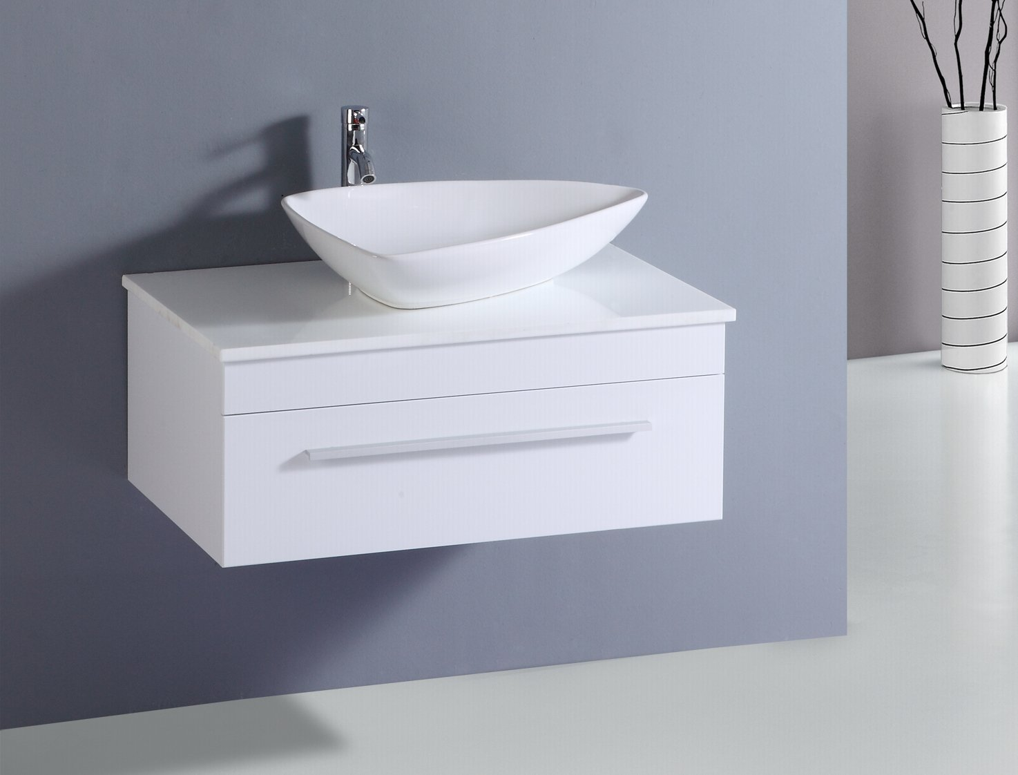 Nice Designer Wall Hung Bathroom Vanity Unit Gloss White Ceramic Counter Top  Basin (Gloss White): Amazon.co.uk: Kitchen U0026 Home