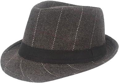 Fuibo Panama Sombrero para Hombre, Fedora Trilby Bogart, Gorra ...