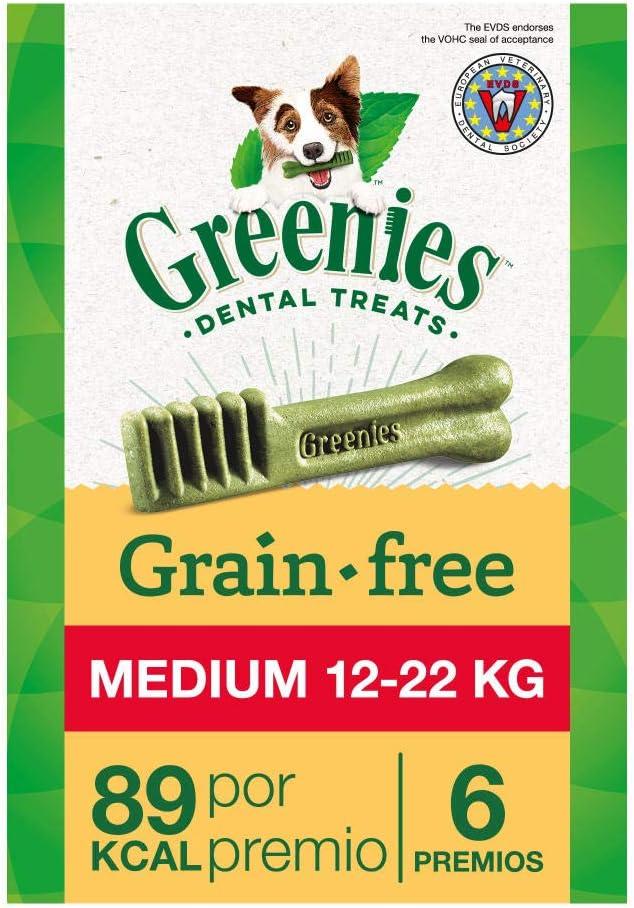 Greenies Snack Dental 100% Natural Grain free para perros Medianos (Pack de 6 x 170g)