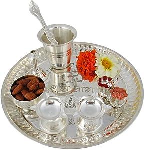 GoldGiftIdeas 8 Inch Mini Premium Silver Plated Pooja Thali Set for Home, Pooja Thali Decorative