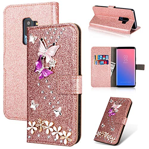 Gaxaly s9 Plus Case Kickstand Glitter Compatible with Samsung 9plus Phone Cases 9splus Cover Girls Bling Samsum Glaxay S 9 Skin Luxury [Colorful Butterfly] [Credit Card Holder ID Slot] (Rose Gold) (Bling Skin Case Cover)