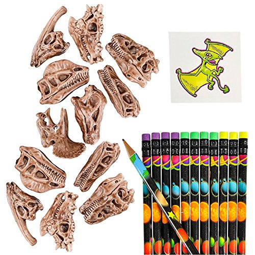 Shop Zoombie 24 PC Dinosaur Party Pack Supplies and 1 Dinosaur Tattoo - Dino Pencil Toppers and Pencils - Party Favors, Party Supplies, Stocking Stuffers, Themed Parties, Classrooms