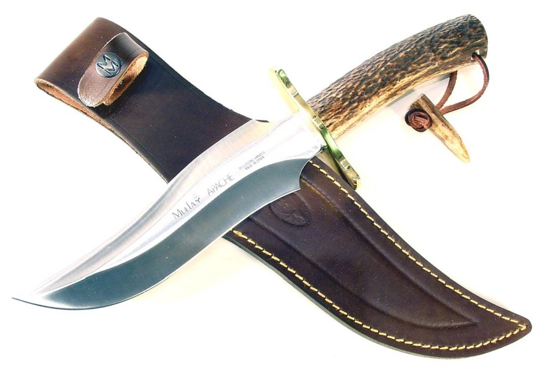 MUELA APACHE Fixed Blade Hunting Knife with Leather Sheath, 7-5/8''
