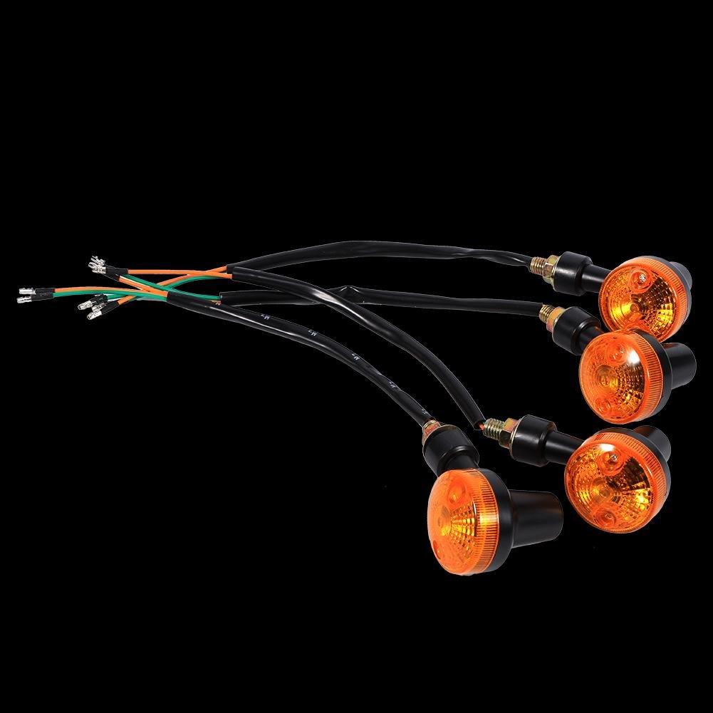 Keenso Universal 4 stk 12V Motorrad Runde Blinker Signal leuchten Bernstein Glü hlampe fü r die meisten Motorrad