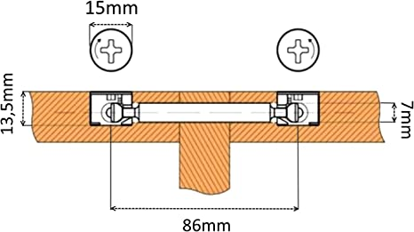 Aerzetix 10 Sets D/übel Beschl/äge Verbindungsst/ück Rastex Doppelpaneel M/öbel 18 mm 86 mm C41555