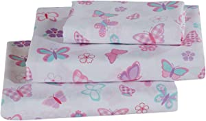 Better Home Style Butterflies Butterfly Floral Flowers Pink Purple Turquoise Girls/Kids/Teens 4 Piece Sheet Set with Pillowcases Flat and Fitted Sheets Set # Tree Butterfly (Full)