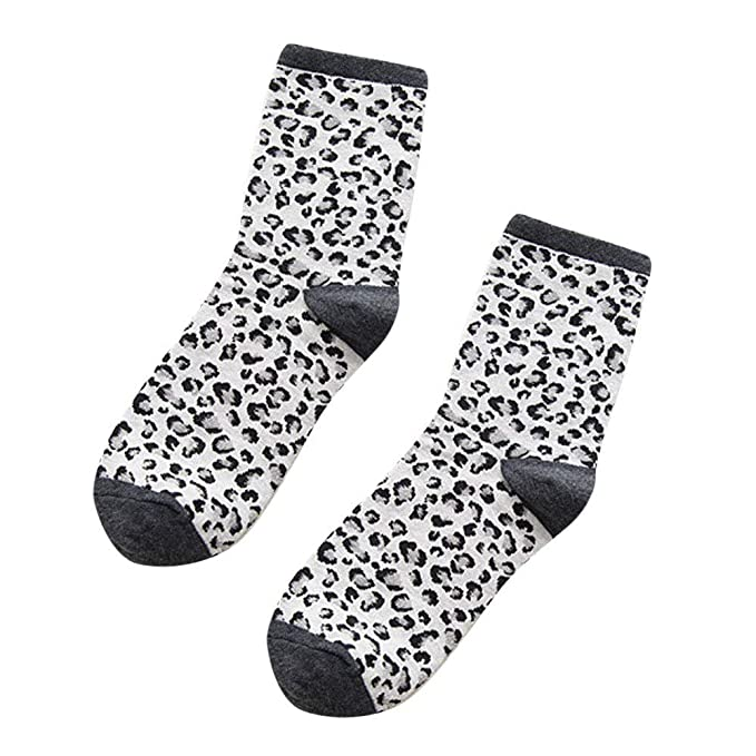 Amazon.com: Daisy Storee Pair Cute Elegant Socks Fashion Leopard Print Japanese College Style Women Lace Floral Cotton Socks for Girls Ladies: Kitchen & ...