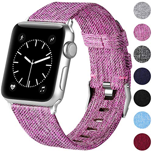 Haveda Bands Compatible with Apple Watch Band 38mm 40mm, Woven Fabric Canvas Wrist Band for Women Men with iWatch Series 4 Series 3/2/1, Sakura - Band Canvas