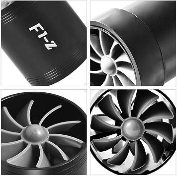 Double Turbine Turbo Charger Prise d?Air Gaz /Économiseur De Carburant Fan Voiture Supercharger 4 Couleurs en Option Noir