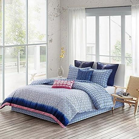 Echo Design EO10 2141 4 Piece Shibori Cotton Reversible Print Comforter Set44 Blue