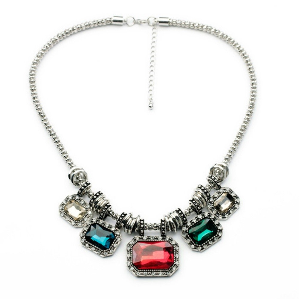 MidnightGirls Silver Clear Crystal Bib Chunky Necklace Chain For Women
