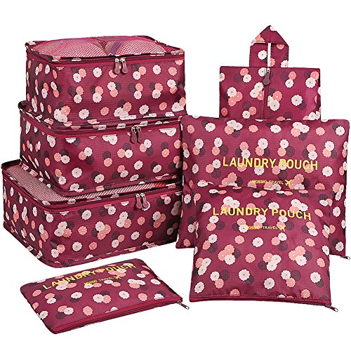 Travel Cubes,Mossio 7 Piece Compact Carry On Luggage Organizer Value Folders Travel Bag Wine Flower by Mossio