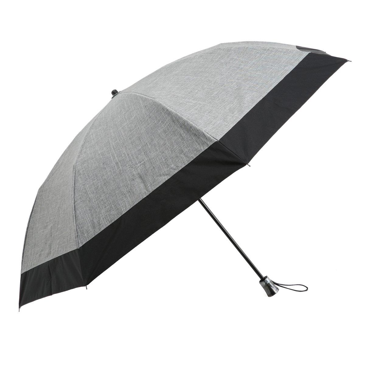 Rose Blanc(ロサブラン) 100%完全遮光 日傘 コンビ(傘袋付) 2段折りたたみ 男女兼用 ラージサイズ 60cm (ダンガリーグレー×ブラック) B01ESQ6H5Iダンガリーグレー×ブラック