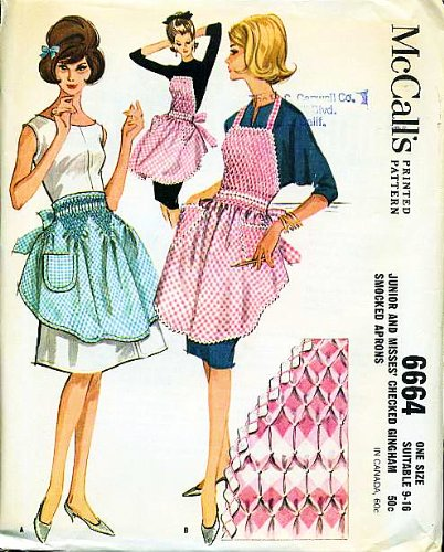 (McCall's 6664 Junior and Misses' Checked Gingham Smocked Apron One Size (Suitable for 9 to 16) Sewing Pattern Vintage 1962)