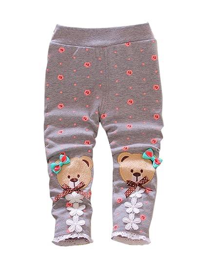 59ff802bb08b Amazon.com  XWDA Baby Girls Cute Bear Thicken Fleece Lined Pants ...