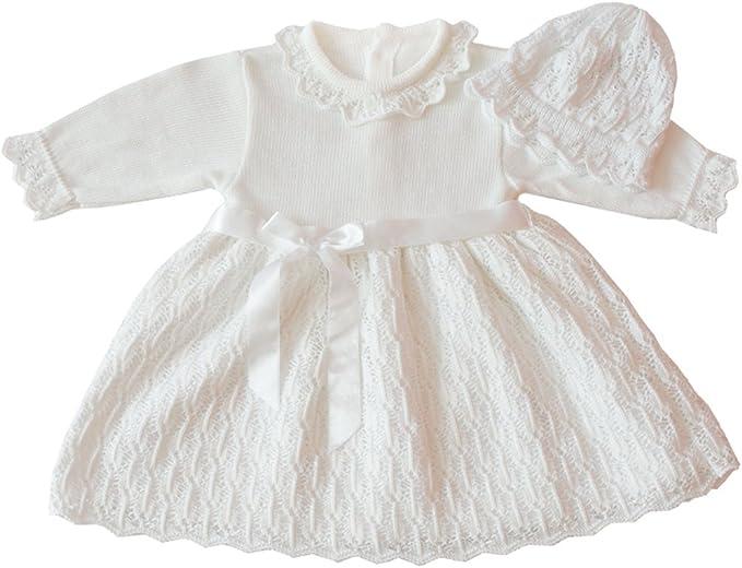 deine-Brautmode Taufkleid Strickkleid Festkleid M/ädchen Babykleid Baby Taufe gestricktes Kleid