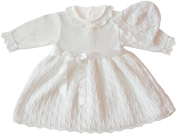 neues Erscheinungsbild verkauf usa online außergewöhnliche Farbpalette deine-Brautmode Taufkleid Strickkleid Festkleid Mädchen Babykleid Baby  Taufe gestricktes Kleid
