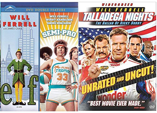 Talladega Nights + Semi-Pro & Elf DVD Will Ferrel Collection Comedy Set 3 Movies