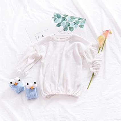Zantec Camiseta Chica Moda Linterna manga de algodón Tops de punto Color puro camiseta de estilo
