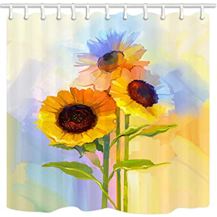 HNMQ Sunflowers Shower Curtain Rustic Decor Oil Painting Yellow Flowers With Green Leaves Mildew